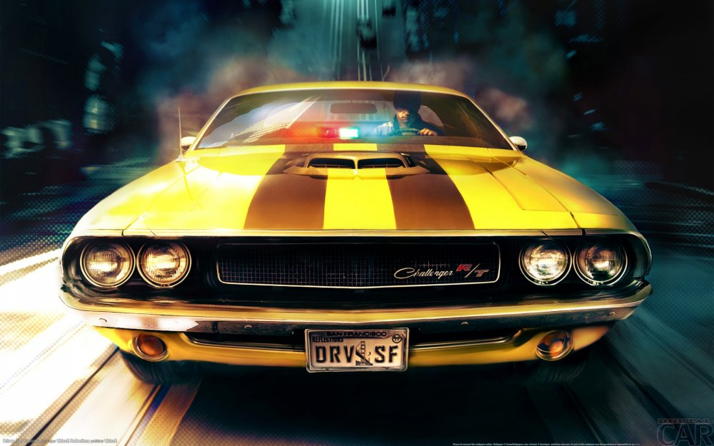 Download the image to your desktop machine with a powerful stinging Dodge Challenger RT (1970).