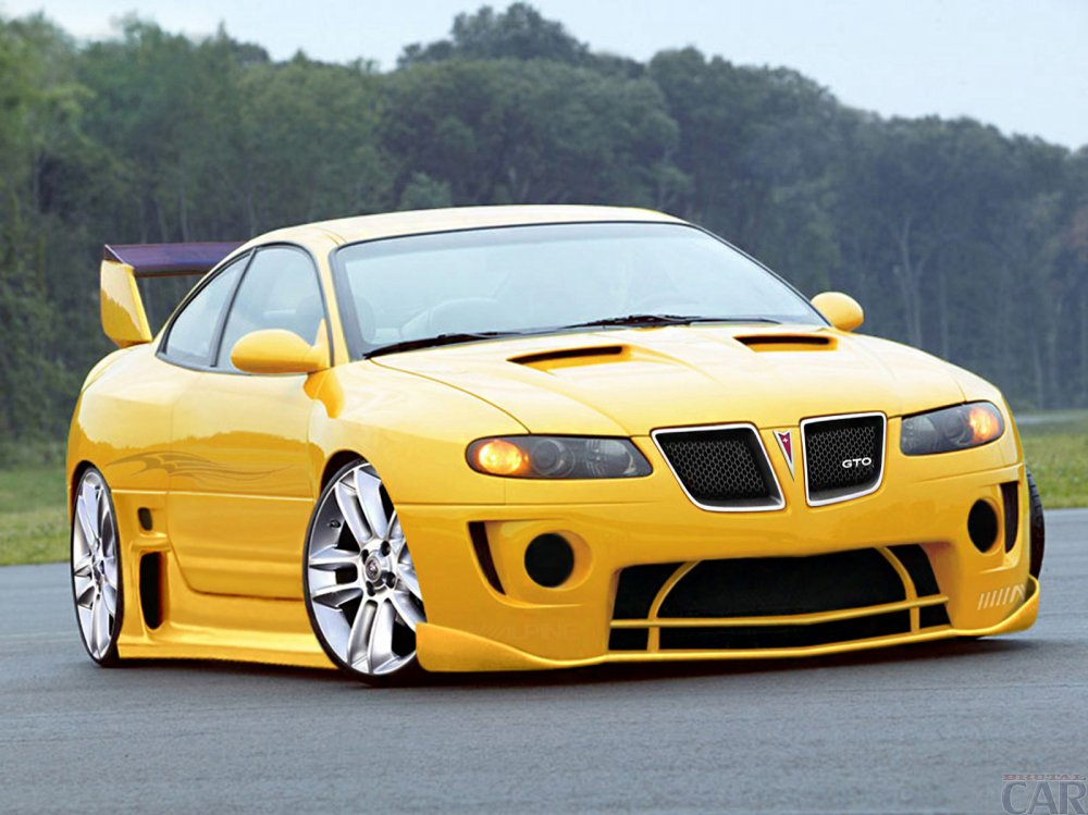 Download wallpapers with remarkable yellow racing car Pontiac GTO coupe.