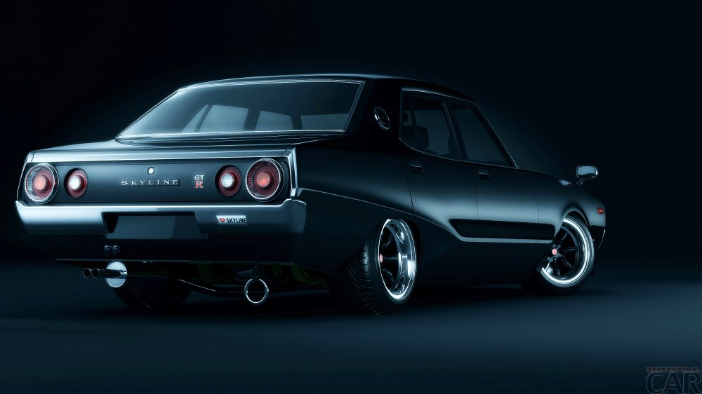 Steep black car Nissan Skyline.