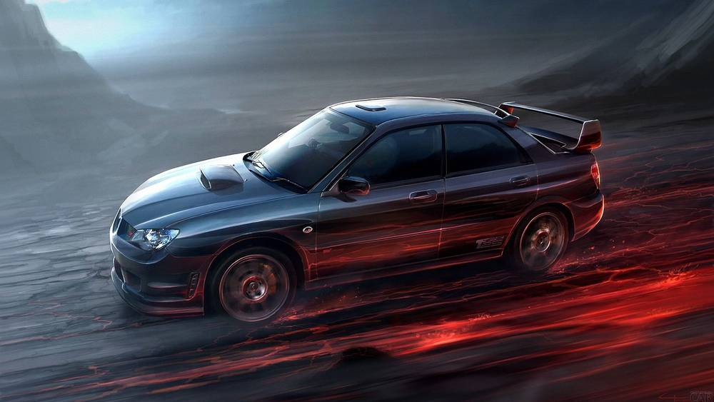 Rushing forward Subaru Impreza WRX STI.