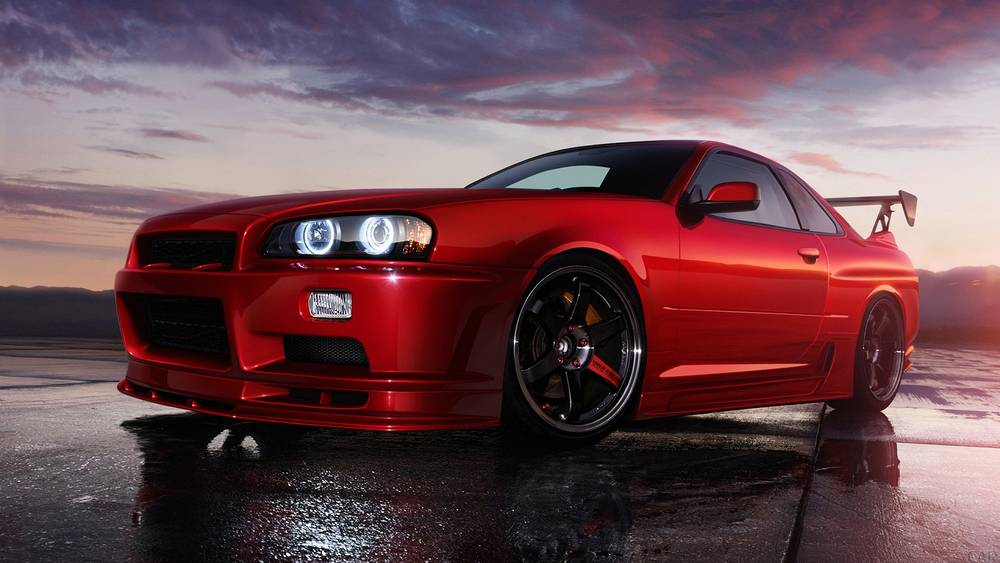 Red Nissan Skyline R34 GTR.