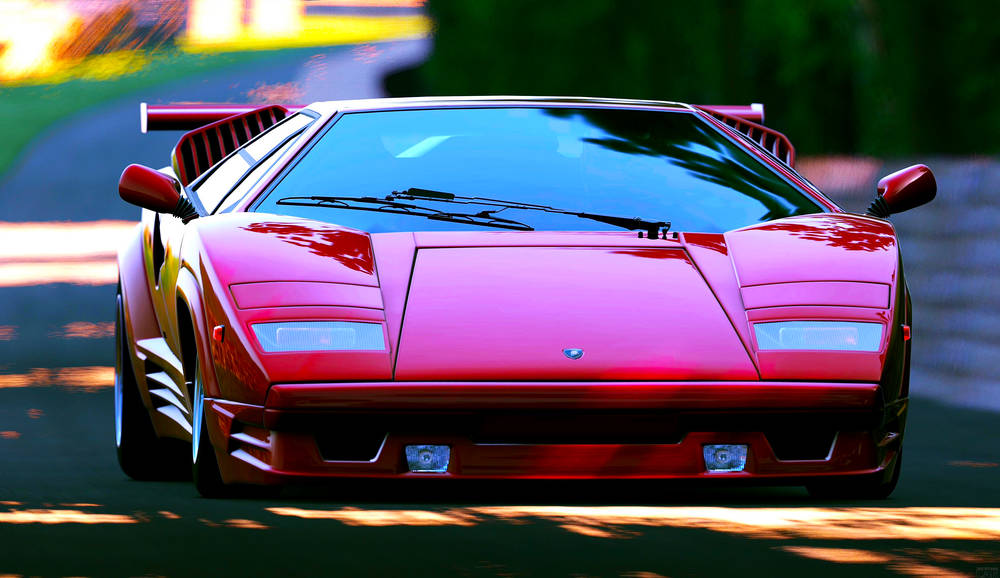 Red lamborghini countach wallpaper.