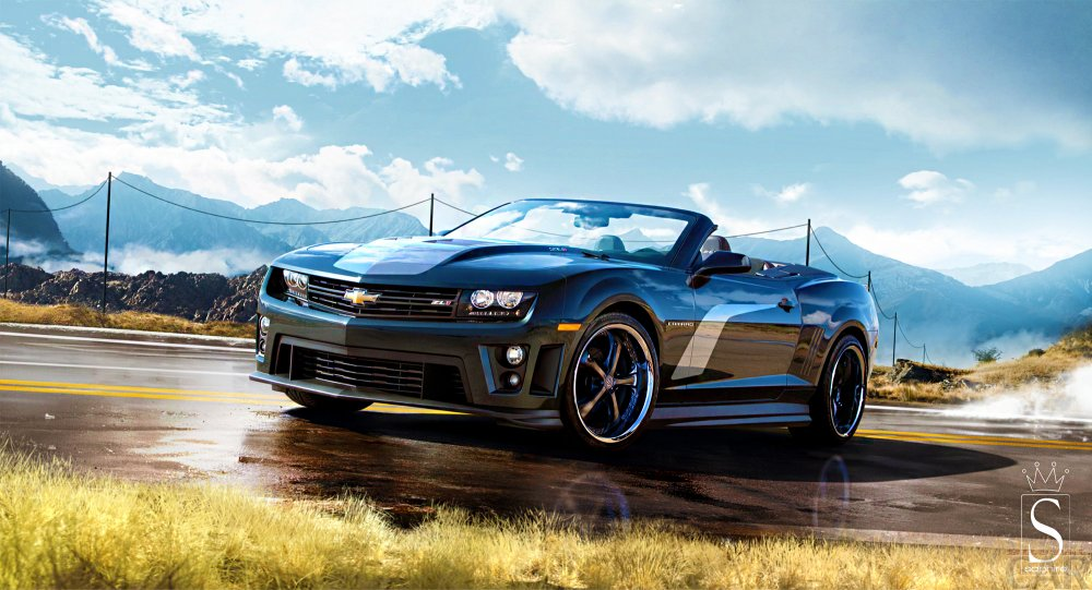 Wallpaper with a clear perspective ardent super car Chevrolet Camaro