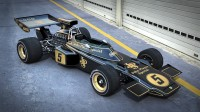 Sports car class quality photos with sharp fireballs Formula 1 Lotus 72F.
