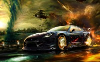 Wallpapers Nissan Skyline car driving around in the middle of the fighting