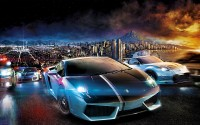 Wallpapers with scintillating race sports cars on night urban roads